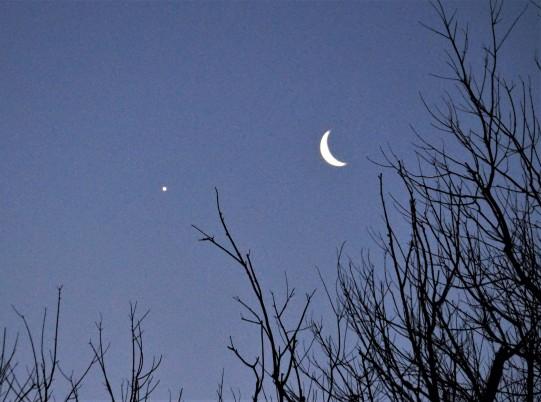 Waning Crescent Moon and Venus in Sagittarius Jan 31, 2019